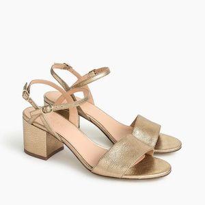 JCrew Leather, strap block heel sandal in size 8